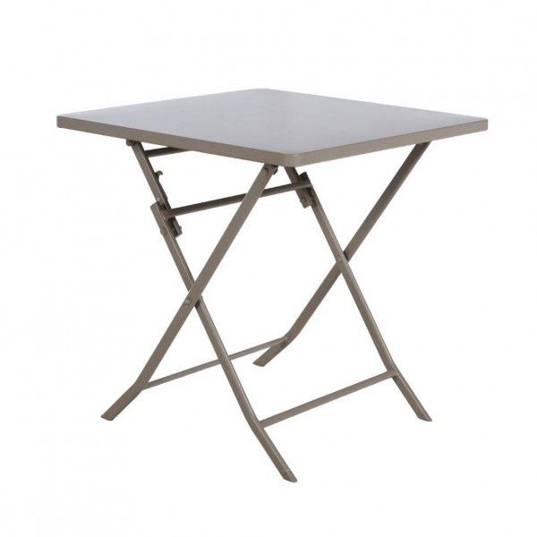 Table de jardin pliante carrée Métal Greensboro (70 x 70 cm) - Taupe