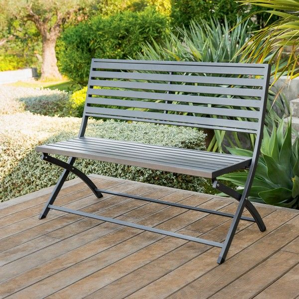 banc de jardin pliant olbia graphite banc de jardin eminza. Black Bedroom Furniture Sets. Home Design Ideas