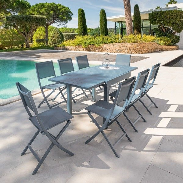 Table de jardin extensible Aluminium Piazza (180 x 90 cm) - Bleu ...