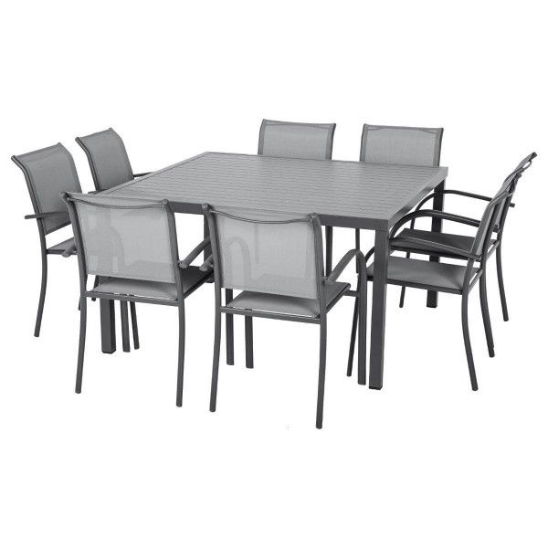 table de jardin aluminium piazza 136 x 136 cm gris anthracite salon de jardin table et. Black Bedroom Furniture Sets. Home Design Ideas