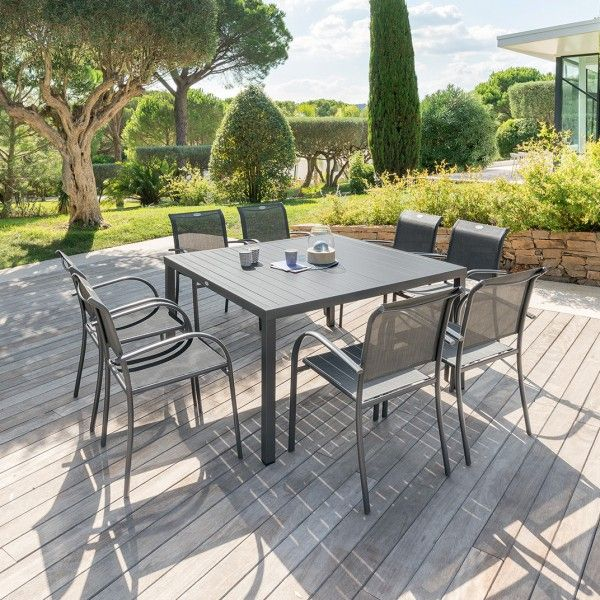 Table de jardin Aluminium Piazza (136 x 136 cm) - Gris anthracite ...