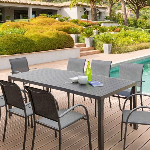 Table de jardin Aluminium Piazza (210 x 100 cm) - Gris anthracite ...