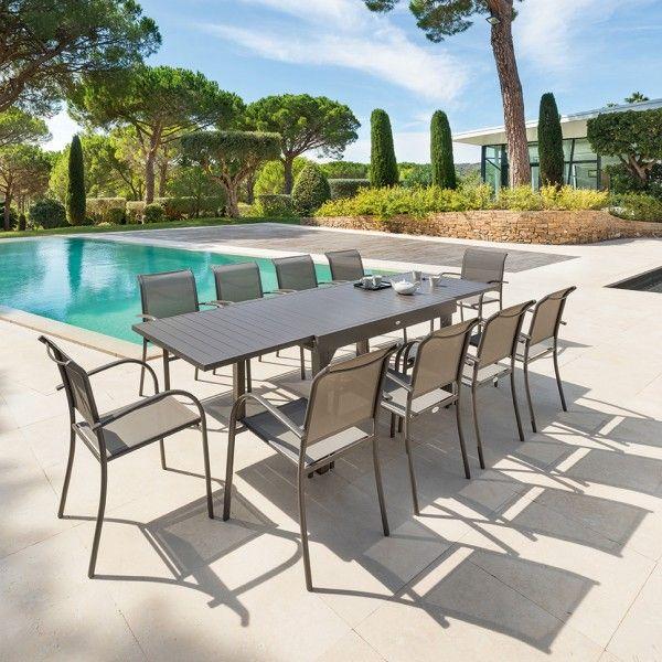 Table de Jardin extensible Piazza Aluminium (270 x 90 cm) - Moka