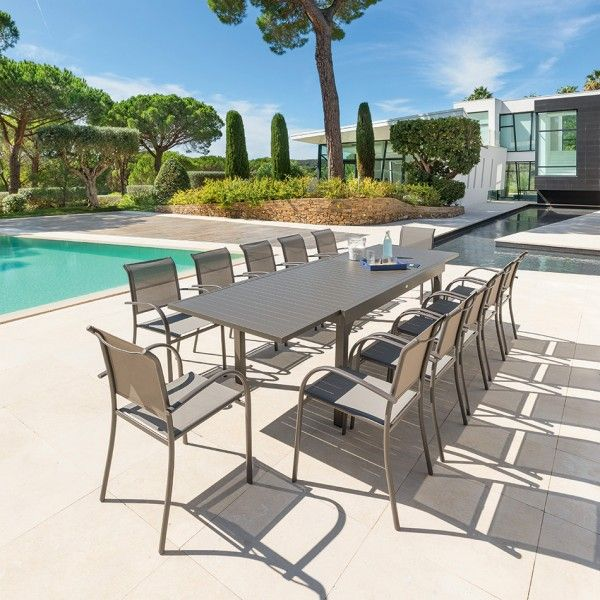 Table de Jardin extensible Piazza Aluminium (320 x 100 cm)- Marron