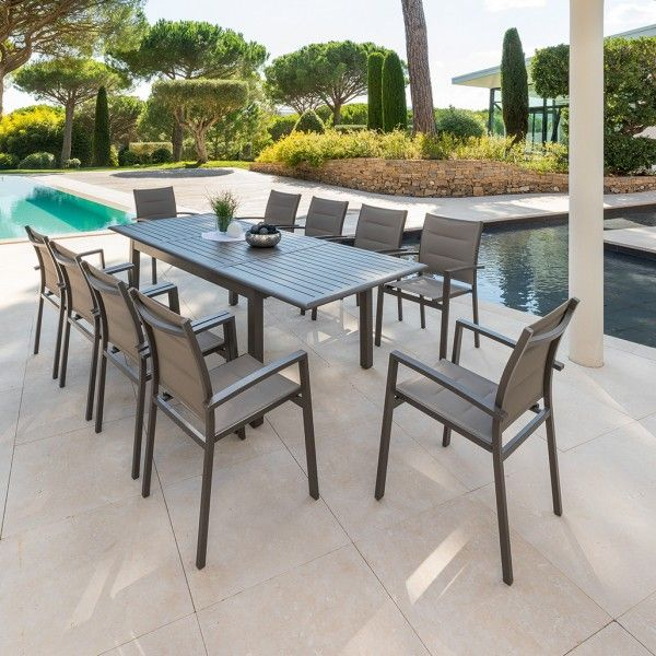 Table de jardin extensible Aluminium Azua (240x 100 cm) - Marron ...