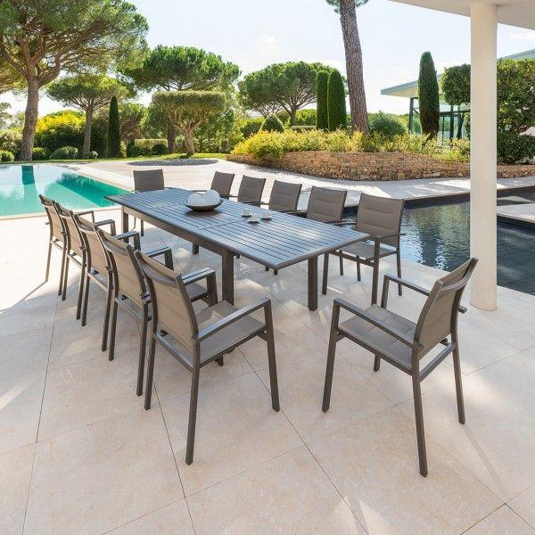 Table de jardin extensible aluminium azua 300 x 100 cm for Tavolo x 20 persone