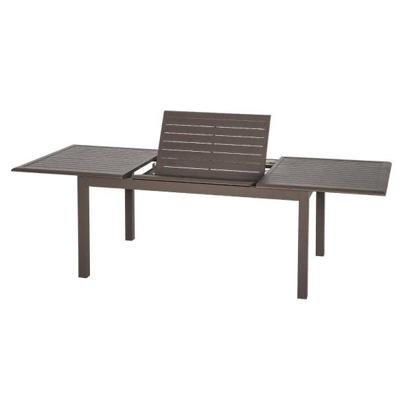 table de jardin extensible aluminium azua 300 x 100 cm marron table de jardin eminza. Black Bedroom Furniture Sets. Home Design Ideas