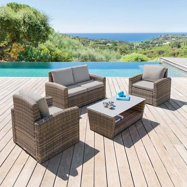 salon de jardin polynesia naturel 4 places salon de. Black Bedroom Furniture Sets. Home Design Ideas
