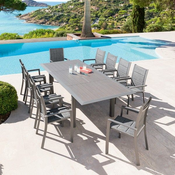 Table de jardin extensible Aluminium Allure (254 x 115 cm) - Mastic ...