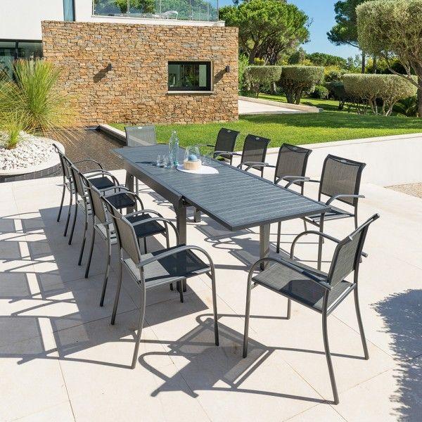 Salon de jardin Piazza Anthracite/Graphite Composite - 6 à 10 places