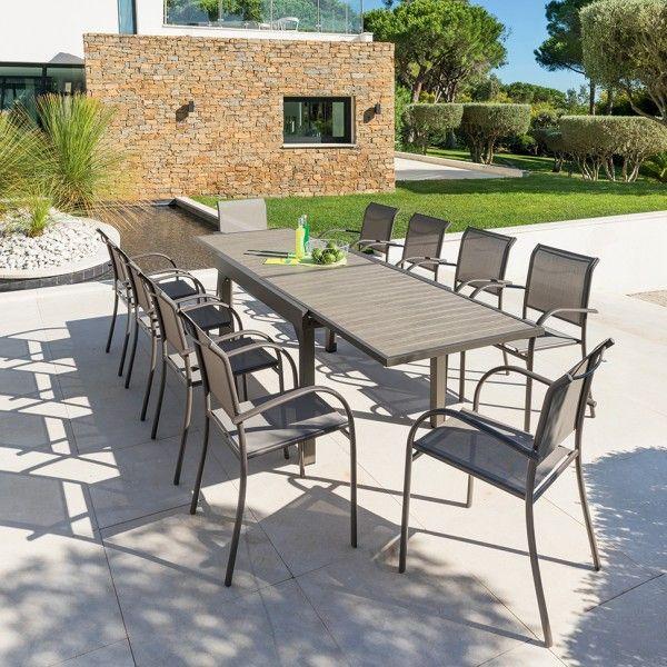 Salon de jardin Piazza Moka/Noisette Composite - 6 à 10 places ...