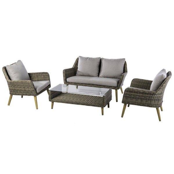 Salon de jardin baltika sepia gris clair 4 places salon de jardin table et chaise eminza - Salon de jardin gris clair ...