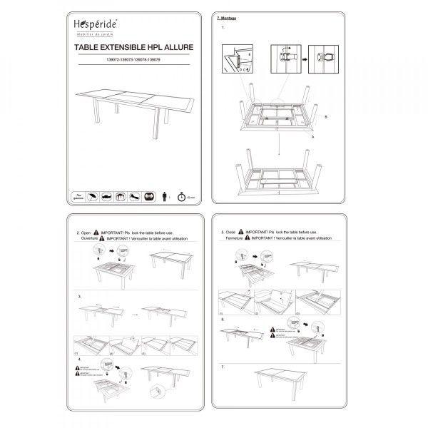 Table de jardin extensible HPL Allure (254 x 115 cm) - Graphite