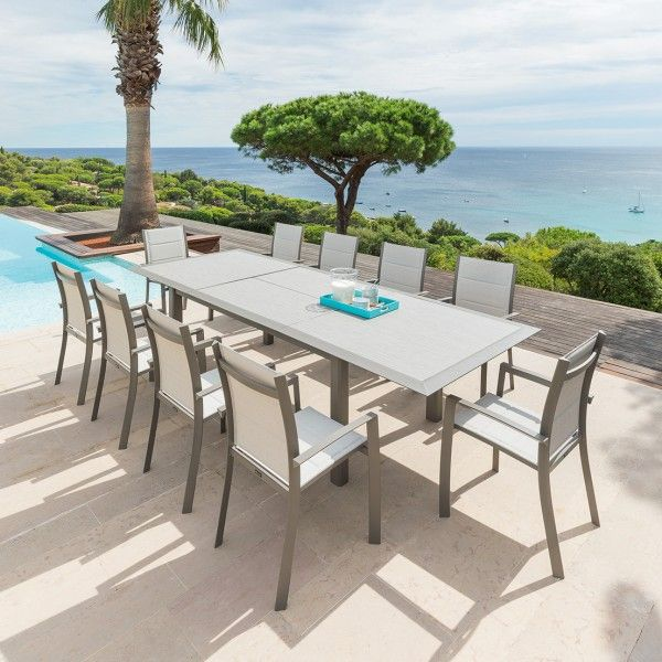Table de jardin extensible HPL Allure (254 x 115 cm) - Taupe