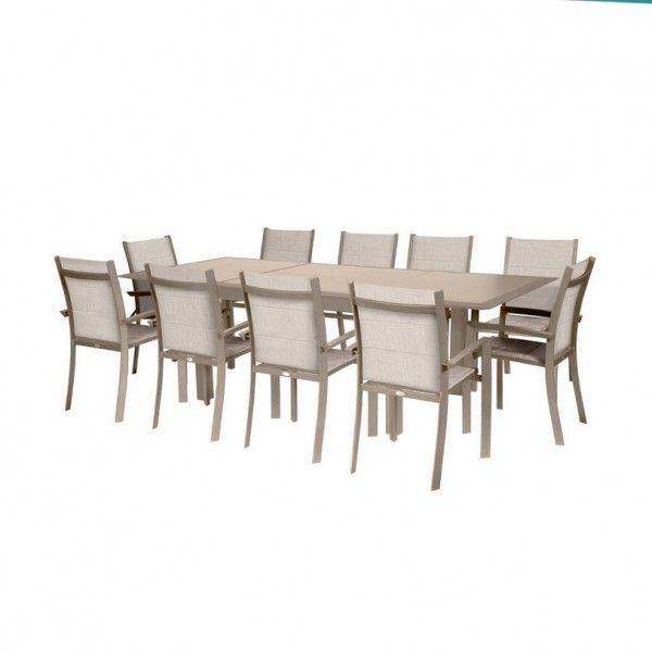 Table de jardin extensible HPL Allure (254 x 115 cm) - Taupe
