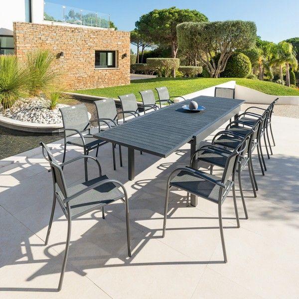 Salon de jardin Piazza Anthracite/Graphite Composite - 8 à 12 places