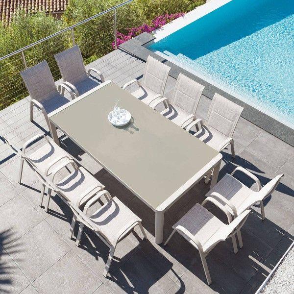 salon de jardin absolu taupe 10 personnes salon de. Black Bedroom Furniture Sets. Home Design Ideas