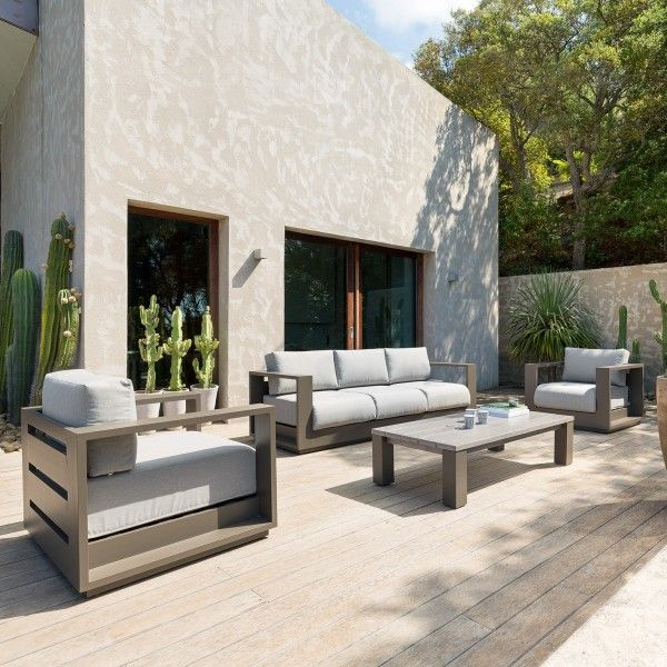 salon de jardin heraklion taupe 5 places salon de. Black Bedroom Furniture Sets. Home Design Ideas