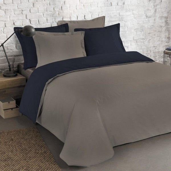 housse de couette et deux taies bi color coton 260 cm bleu marine linge de lit eminza. Black Bedroom Furniture Sets. Home Design Ideas