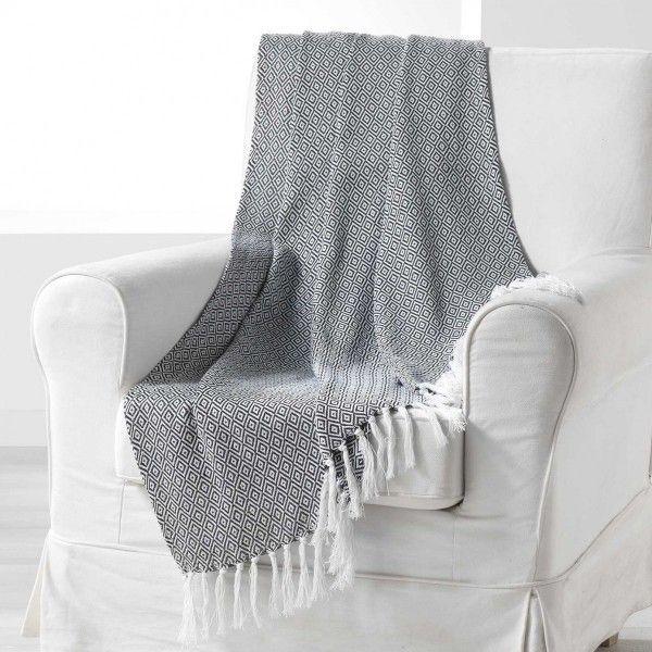 jet de canap 150 cm merina noir d co textile eminza. Black Bedroom Furniture Sets. Home Design Ideas