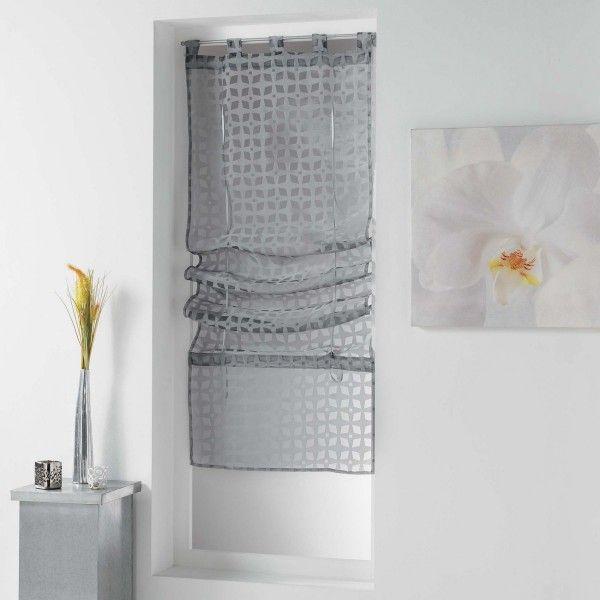 Store voilage droit (90 x 180 cm) Glorenza Gris - Rideau / Voilage ...