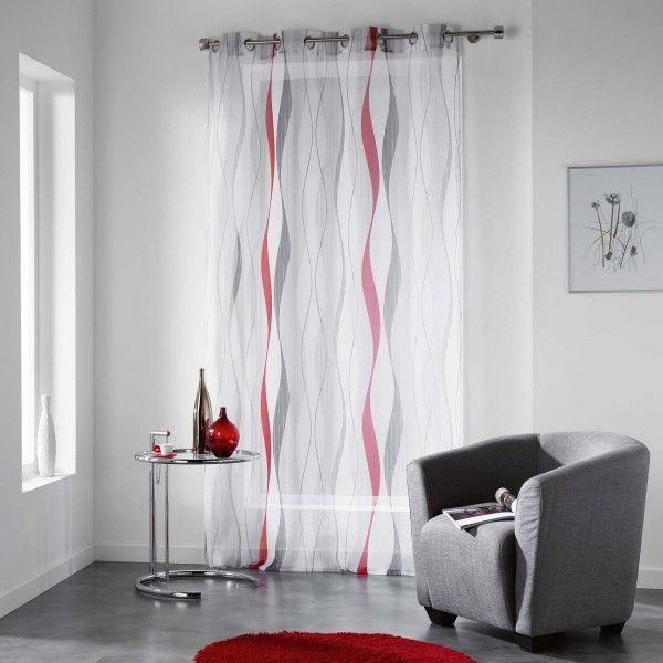 voilage 140 x 240 cm ondulys rouge rideau voilage. Black Bedroom Furniture Sets. Home Design Ideas