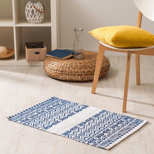 tapis imprim 80 cm lacanau bleu marine tapis eminza. Black Bedroom Furniture Sets. Home Design Ideas