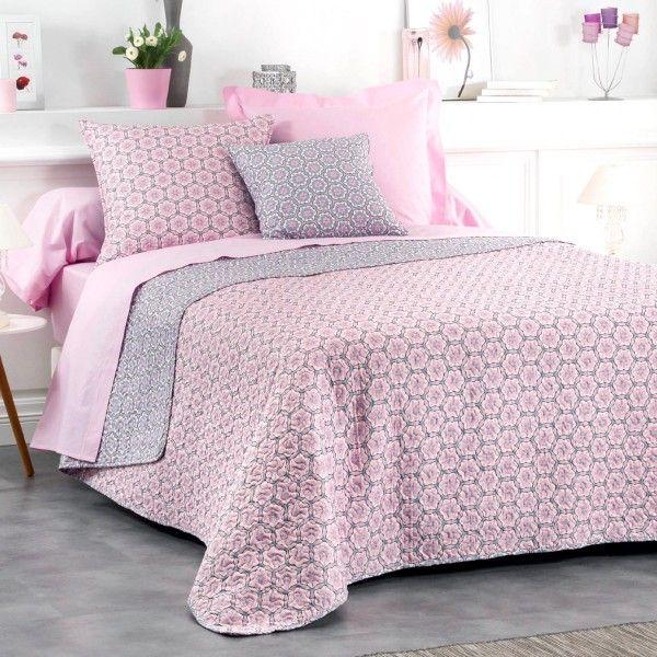 couvre lit matelass 220 x 240 cm isaline gris rose linge de lit eminza. Black Bedroom Furniture Sets. Home Design Ideas