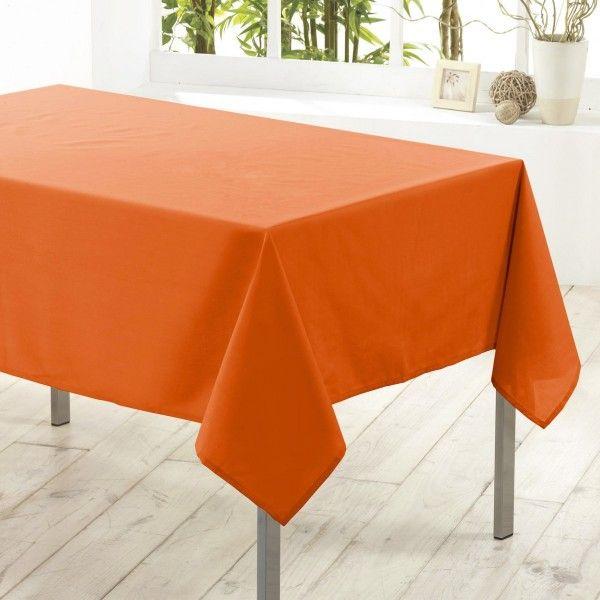 nappe carr e anti tache l180 cm essentiel orange brique linge de table eminza. Black Bedroom Furniture Sets. Home Design Ideas