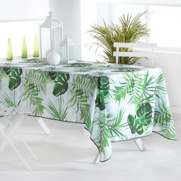 Nappe rectangulaire l240 cm canopee vert linge de - Nappe de table rectangulaire ...