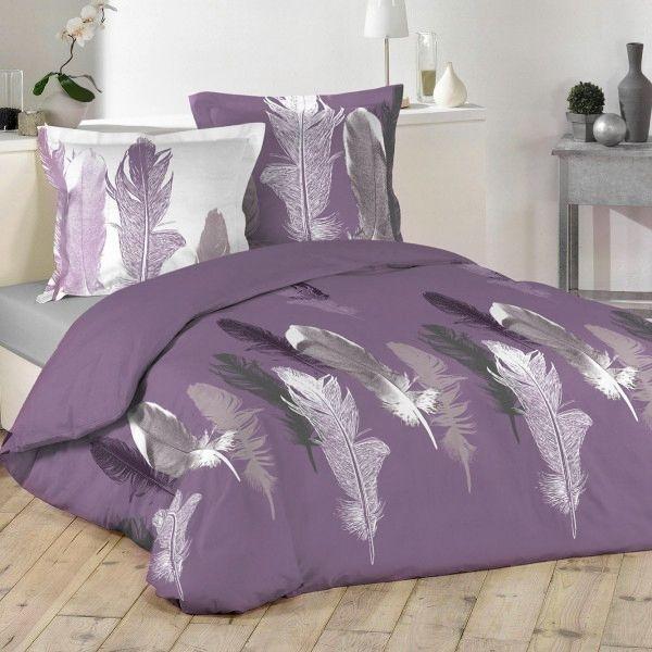 housse de couette et deux taies caress coton 200 cm violet linge de lit eminza. Black Bedroom Furniture Sets. Home Design Ideas