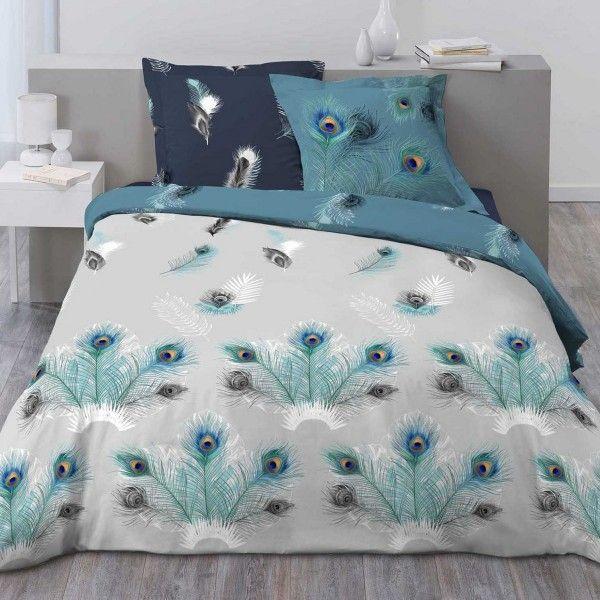 housse de couette et deux taies coton 240 cm plume de. Black Bedroom Furniture Sets. Home Design Ideas