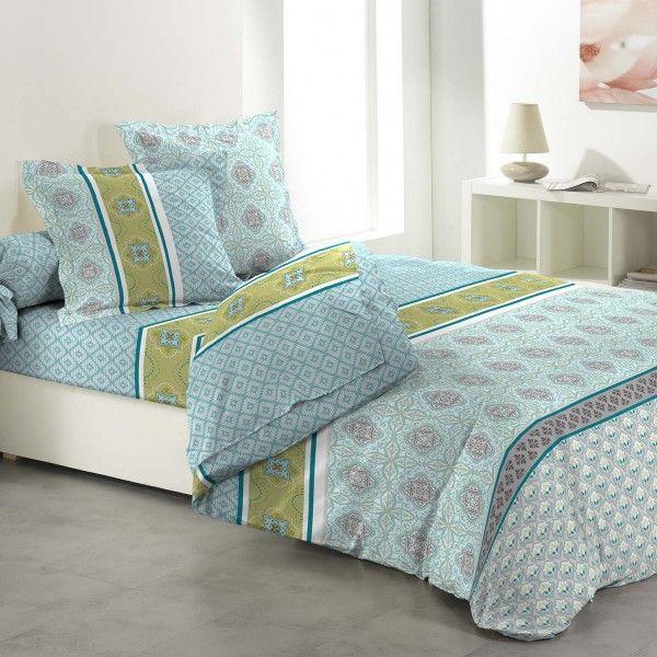 parure de draps coton lit 140 cm 4 pi ces portofino vert parure de lit eminza. Black Bedroom Furniture Sets. Home Design Ideas