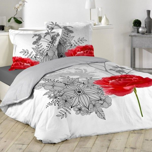housse de couette rouge linge de lit eminza. Black Bedroom Furniture Sets. Home Design Ideas