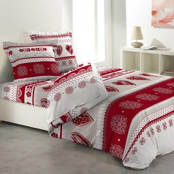 parure de draps coton lit 160 cm 4 pi ces candy c ur rouge linge de lit eminza. Black Bedroom Furniture Sets. Home Design Ideas