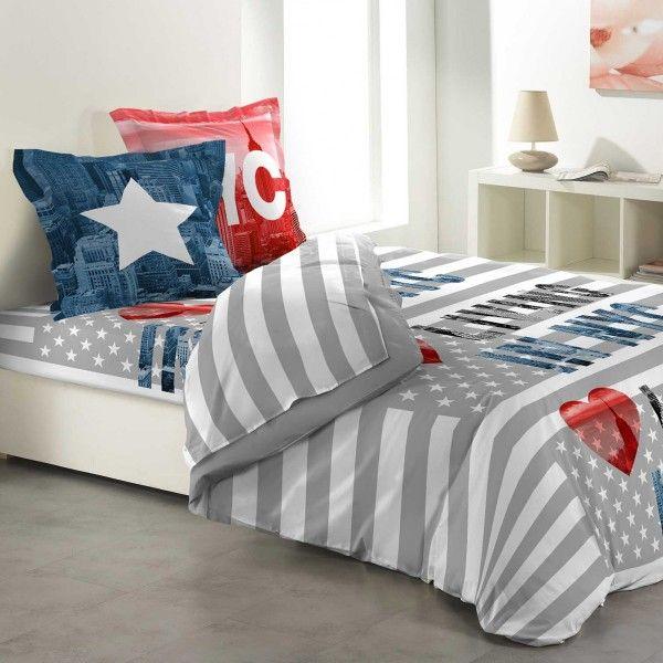 parure de couette coton lit 140 cm 5 pi ces living ny gris parure de lit eminza. Black Bedroom Furniture Sets. Home Design Ideas