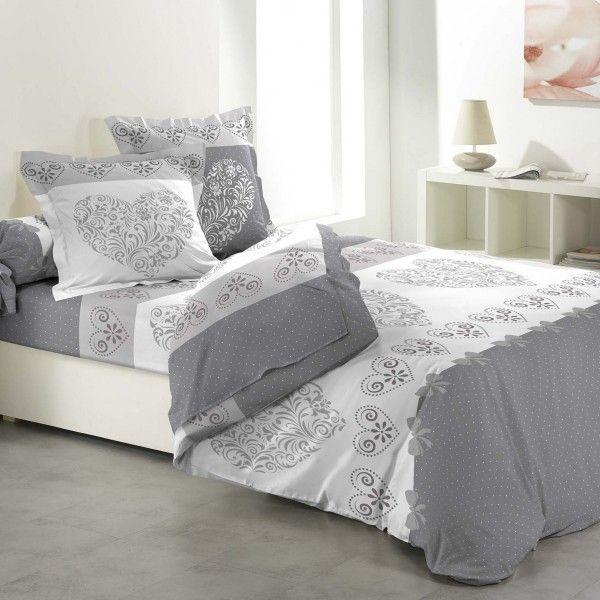 parure de couette coton lit 140 cm 5 pi ces amoureux gris parure de lit eminza. Black Bedroom Furniture Sets. Home Design Ideas