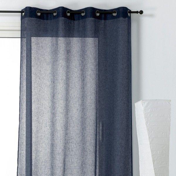 voilage 145 x 240 cm micao bleu marine rideau voilage store eminza. Black Bedroom Furniture Sets. Home Design Ideas