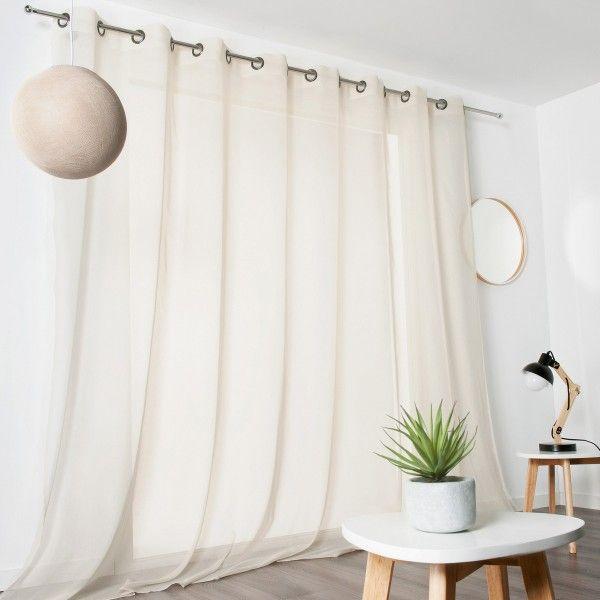 voilage x cm voile de coton ivoire with voilage luna ivoire. Black Bedroom Furniture Sets. Home Design Ideas