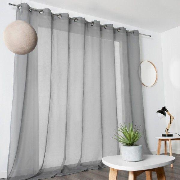 Voilage 300 x 240 cm voile de coton gris voilage eminza for Voile et rideaux