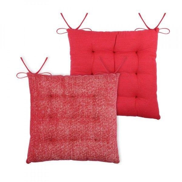 galette et coussin de chaise rouge coussin et galette eminza. Black Bedroom Furniture Sets. Home Design Ideas