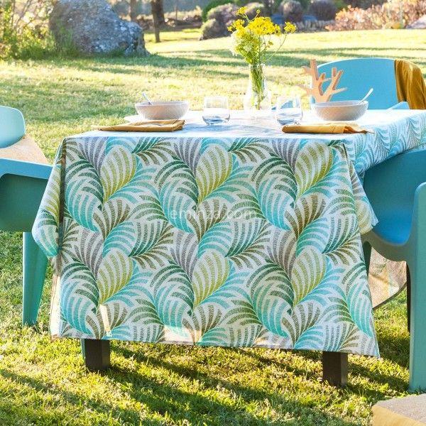 nappe rectangulaire enduite l 250 cm coucou vert linge de table eminza. Black Bedroom Furniture Sets. Home Design Ideas