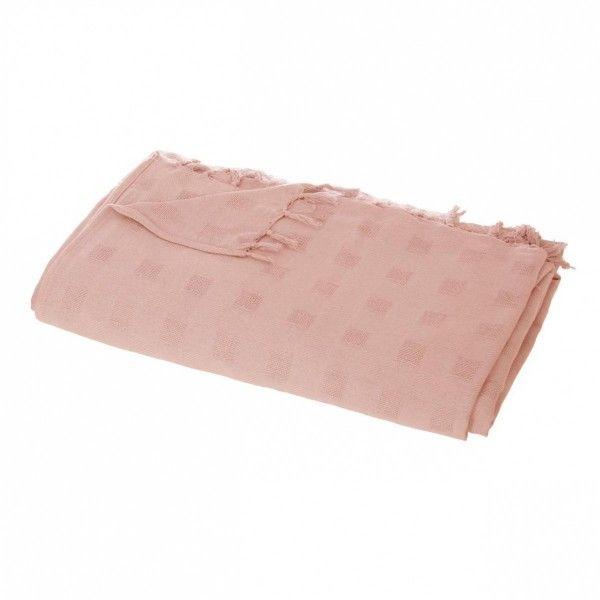 Jeté de canapé (250 cm) Carré Rose - Déco textile - Eminza