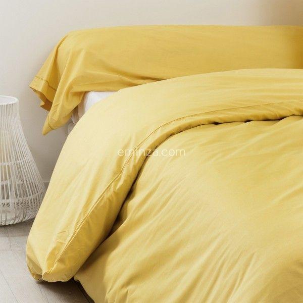 taie de traversin coton sup rieur l200 cm f licie jaune moutarde linge de lit eminza. Black Bedroom Furniture Sets. Home Design Ideas
