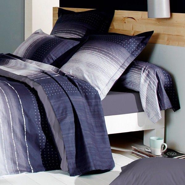 taie d 39 oreiller rectangulaire percale de coton jazz violet linge de lit eminza. Black Bedroom Furniture Sets. Home Design Ideas