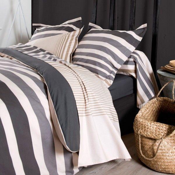 taie d 39 oreiller rectangulaire percale de coton stripe gris ficelle linge de lit eminza. Black Bedroom Furniture Sets. Home Design Ideas
