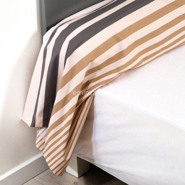 taie de traversin percale de coton l200 cm stripe gris ficelle linge de lit eminza. Black Bedroom Furniture Sets. Home Design Ideas