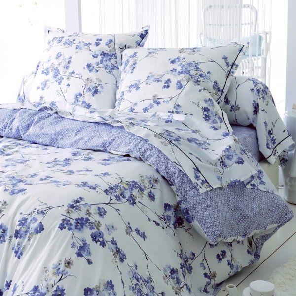Taie d 39 oreiller carr e satin de coton blossom bleu linge de lit eminza - Linge de lit en satin de coton ...