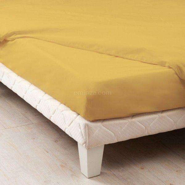 Drap housse coton supérieur (80 cm) Félicie Jaune moutarde   Linge