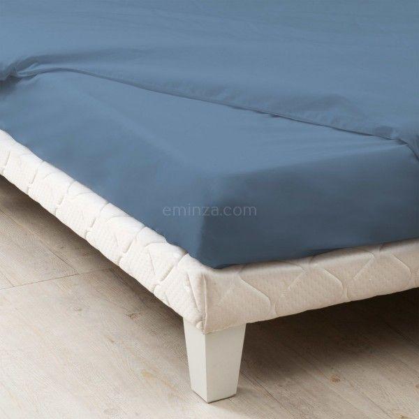 Drap housse coton supérieur (80 cm) Félicie Bleu orage   Linge de